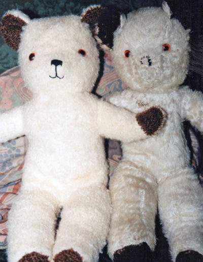 Teddy bear (left) made as a replica of original 1950s bear (right)