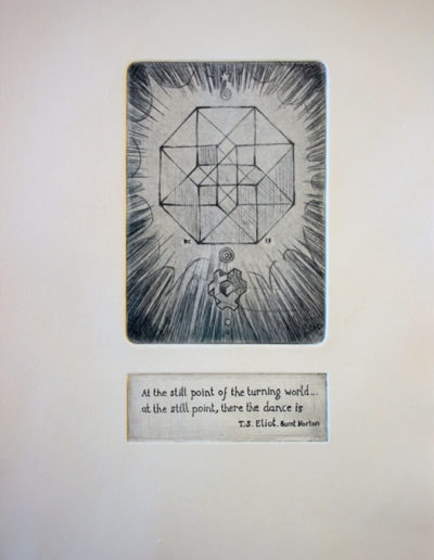 Drypoint image and sugarlift text