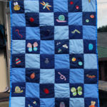 Welcome to the world baby quilt, machine applique and piecing, hand-bound, 2018