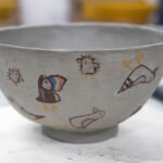 Slipcast bowl ready to fire