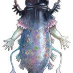 Frilnipiggle creature (trout, human, dung beetle hybrid)