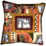 Wedding anniversary cushion commission, traditional hand-pieced patchwork and transferred photos