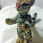 Miniature ocelot, 6cm tall, hand-painted fur fabric with micro suede ears