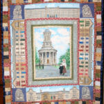 Saltaire wall hanging- hand painted, applique and machine pieced