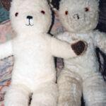 Teddy bear (left) made as a replica of original 1950s bear (right)