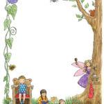Treehouse poster border, watercolour