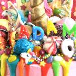 Rainbow unicorn cake detail