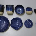 Blue-glazed; slip cast and push-moulded stoneware