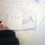 Using letter formation chart to practice backwards writing