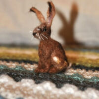 Needle-felted wool hare