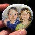 Colored pencil portrait on chalk pebble