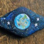 Acrylic painted pebble